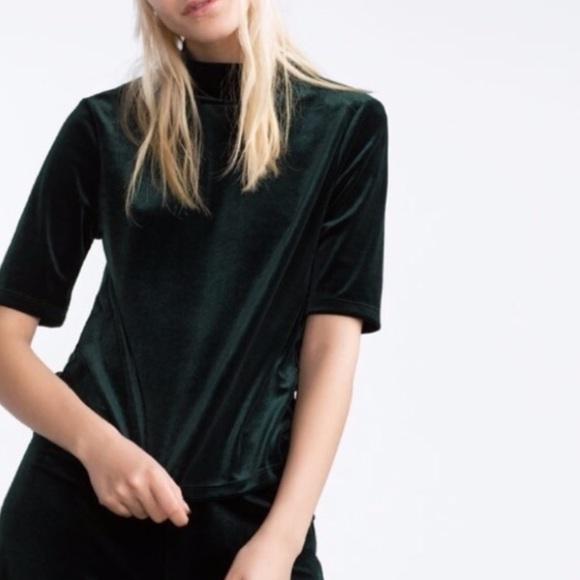 Zara Velvet Mock Neck Shirt, Forest Green, S